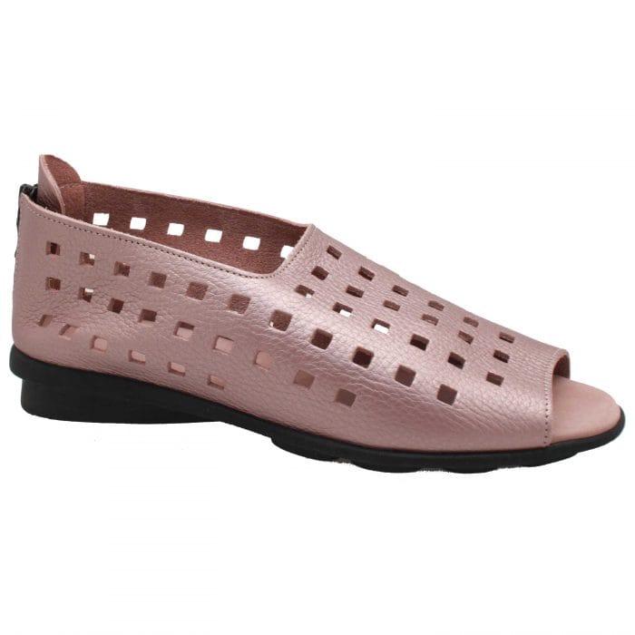 Arche Lazer Cut Open Toe Flat Leather Sandal