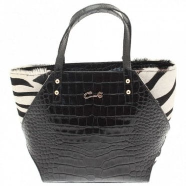 2 Handble Croc And Zebra Print Handbag