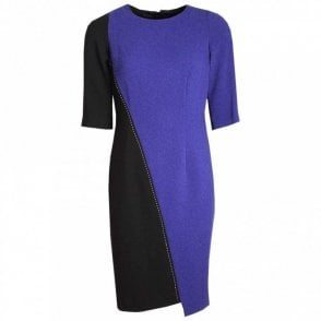 2 Tone 3/4 Sleeve Asymmetric Dress