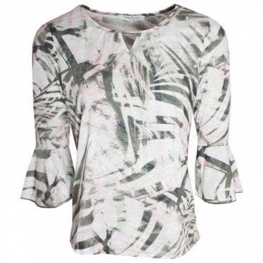 3/4 Bell Sleeve Tropical Print Top