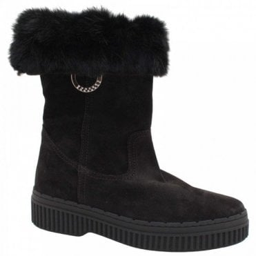 Alpe 3/4 High Fur Lined Black Winter Boots