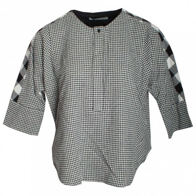 Oui 3/4 Sleeve Check Cotton Top