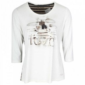 3/4 Sleeve Cream Love Print Top