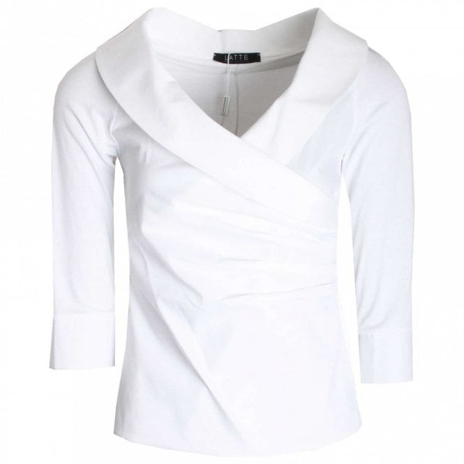 Latte 3/4 Sleeve Cross Over Style Fitted Top