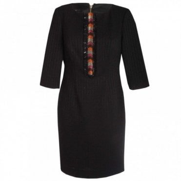 3/4 Sleeve Embroidered Shift Dress