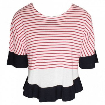 3/4 Sleeve Fine Knit Striped Jumper