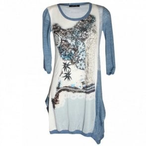 3/4 Sleeve Heart Print Jersey Dress