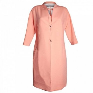 3/4 Sleeve Mandarin Collar Dress Coat