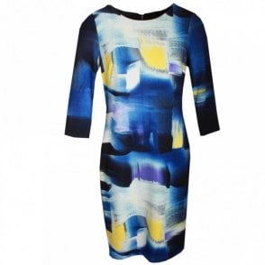 3/4 Sleeve Multi Print Shift Dress
