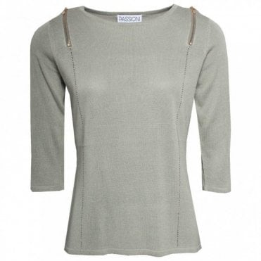 Passioni 3/4 Sleeve Optional Cold Shoulder Jumper