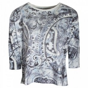 3/4 Sleeve Printed Blouse Top