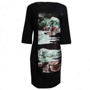 3/4 Sleeve Roses Panel Shift Dress