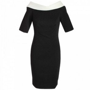 3/4 Sleeve Shawl Collar Shift Dress