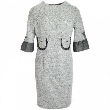 3/4 Sleeve Shift Dress With Pockets