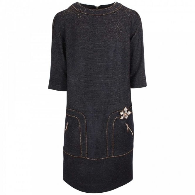 Badoo 3/4 Sleeve Shimmer Knit Fitted Dress