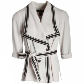 3/4 Sleeve Wrap Jacket With Belt
