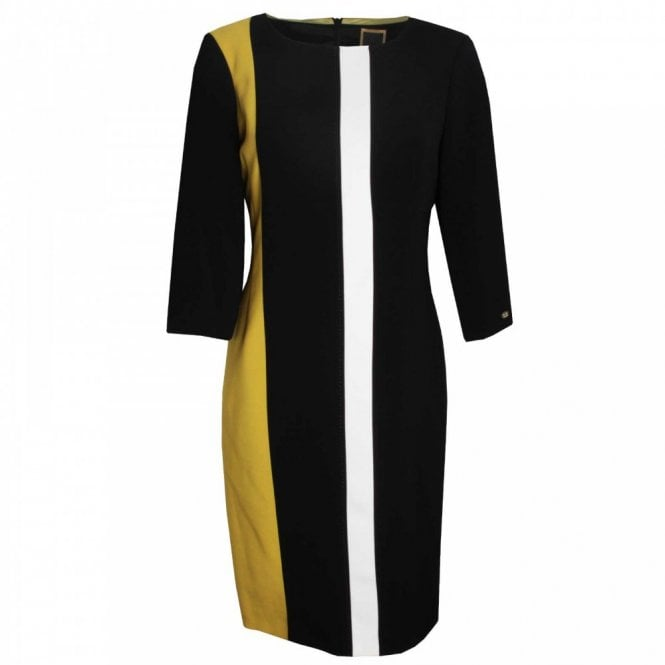 Paola Collection 3 Quarter Sleeve Block Colour Dress