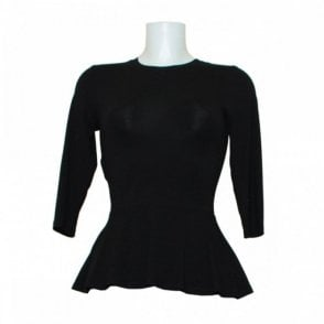 3 Quarter Sleeve Jersey Peplum Top