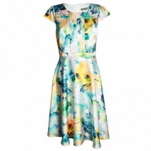 A Line Capped Sleeve Printed Dress