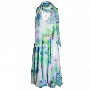 A Line Floral Print Dress With Scarf