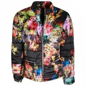Abstract Floral Print Padded Jacket