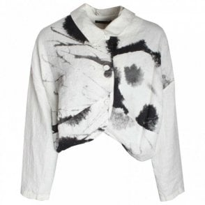 Abstract Print Button Front Linen Jacket