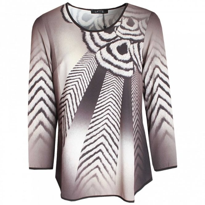 Latte Abstract Print Long Sleeve Top