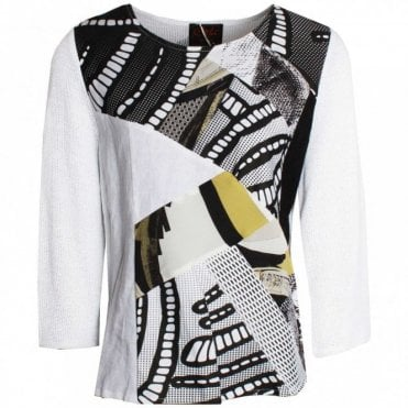 Abstract Print Long Sleeve Top