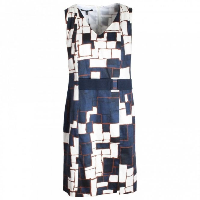 Marie Mero Abstract Print Sleeveless Shift Dress