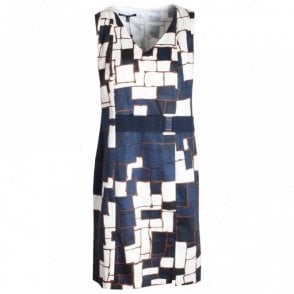 Abstract Print Sleeveless Shift Dress