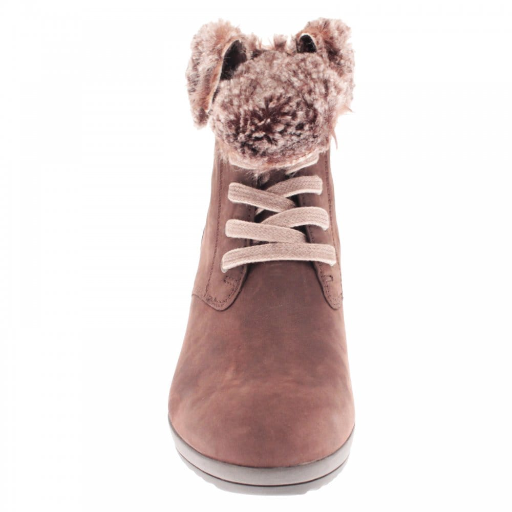 for whole family factory outlet casual shoes Gabor Aconite Laceup Fur Trim Ankle Boot