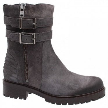 Biker Boot With Side Zip And Buckles