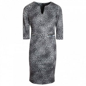 Animal Chic 3/4 Sleeve Shift Dress