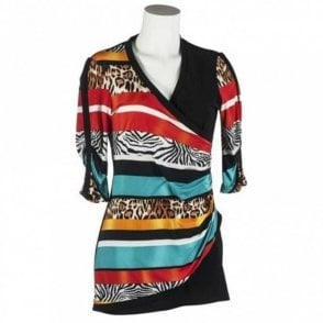 Joseph Ribkoff Animal Print Cross Over Tunic