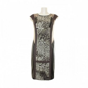 Animal Print Panel Women's Shift Dress