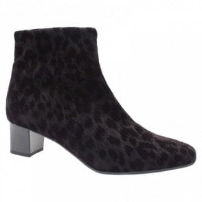 Animal Print Textile Ankle Boot