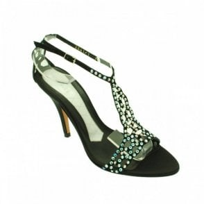 Ankle Strap Court Shoe With Diamantes