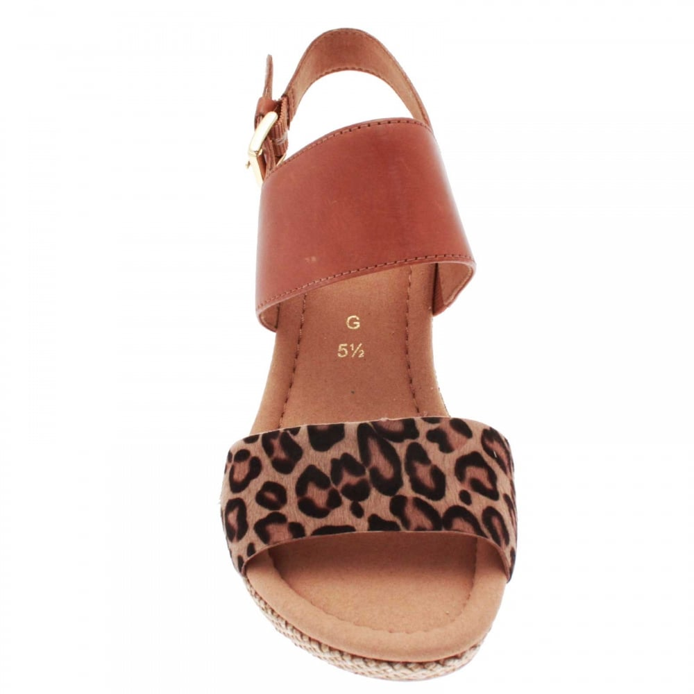 d6d7ea331803 Anna Women's Leopard Print Wedge Sandal By Gabor At Walk In Style