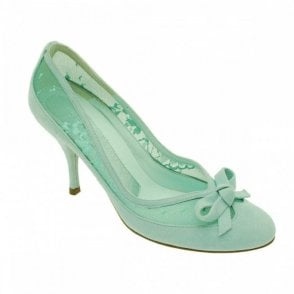 Aqua Suede With Lace And Bow Detail