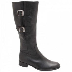 Astoria 2 Buckle Black Leather Long Boot
