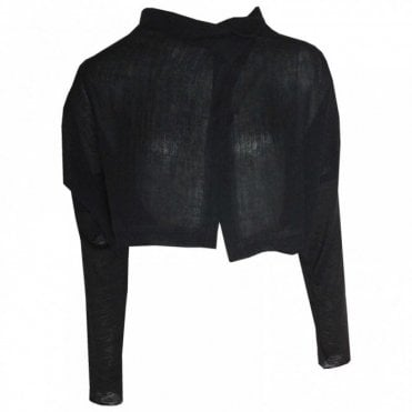 Asymetric Side Button Cropped Jacket