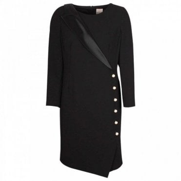 Asymetric Tuxedo Style Dress With Pearls