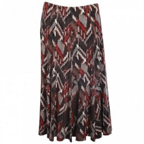 Aztez Print Long Jersey Skirt