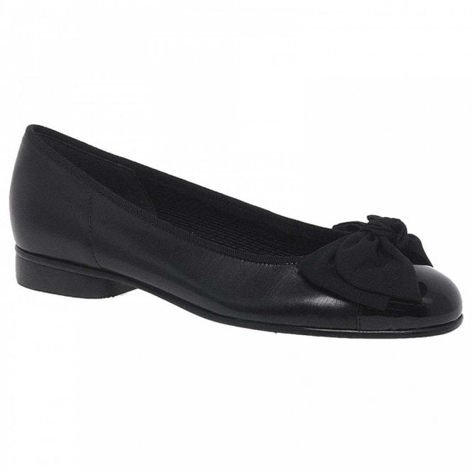 Gabor Ballerina With Patent Toe And Satin Bow