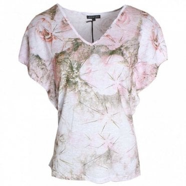 Batwing V-neck Printed Top