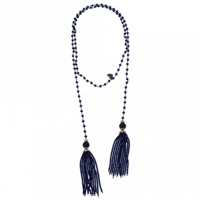 Nour London Beaded Lariat Tassel Necklace
