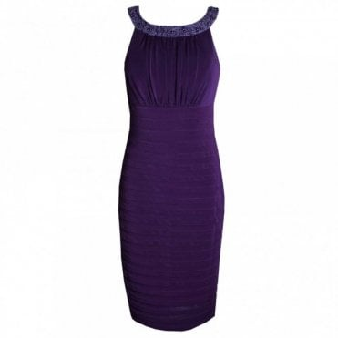Beaded Neck Band Sleeveless Jersey Dress