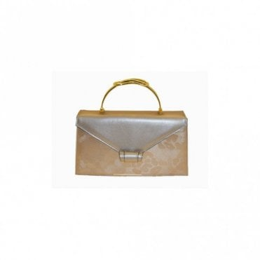 Beige Broc Square Gold Handle