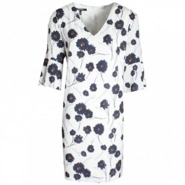 Marie Mero Bell Sleeve Floral Print V-neck Dress