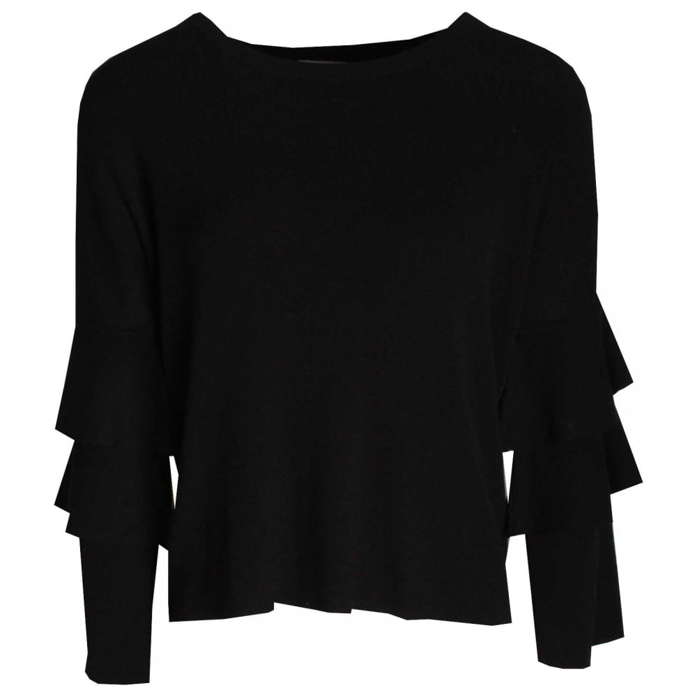 b5bea461802c4e Bell Style Sleeve Fine Knit Jumper By Oui At Walk In Style